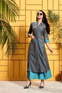 Grey Rayon Casual Style Fancy Embroidered Kurti