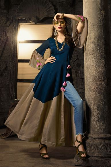 Cotton Fabric Navy Blue Color Party Wear Designer Indowestern Kurti With Slit