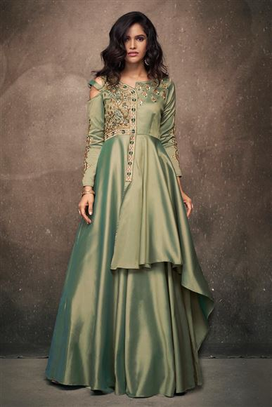 Embroidery Designs On Art Silk Fabric Khaki Function Wear Readymade Gown