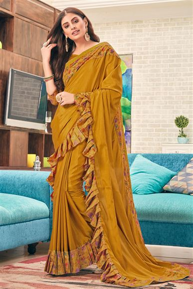 Plain Ruffle Border Art Silk Fabric Wedding Wear Brown Color Saree With Blouse