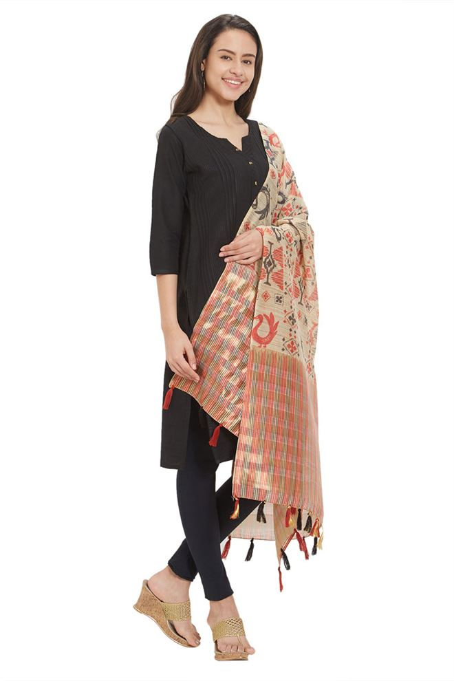 Engaging Digital Print And Zari Work On Red And Black Cotton Silk Dupatta
