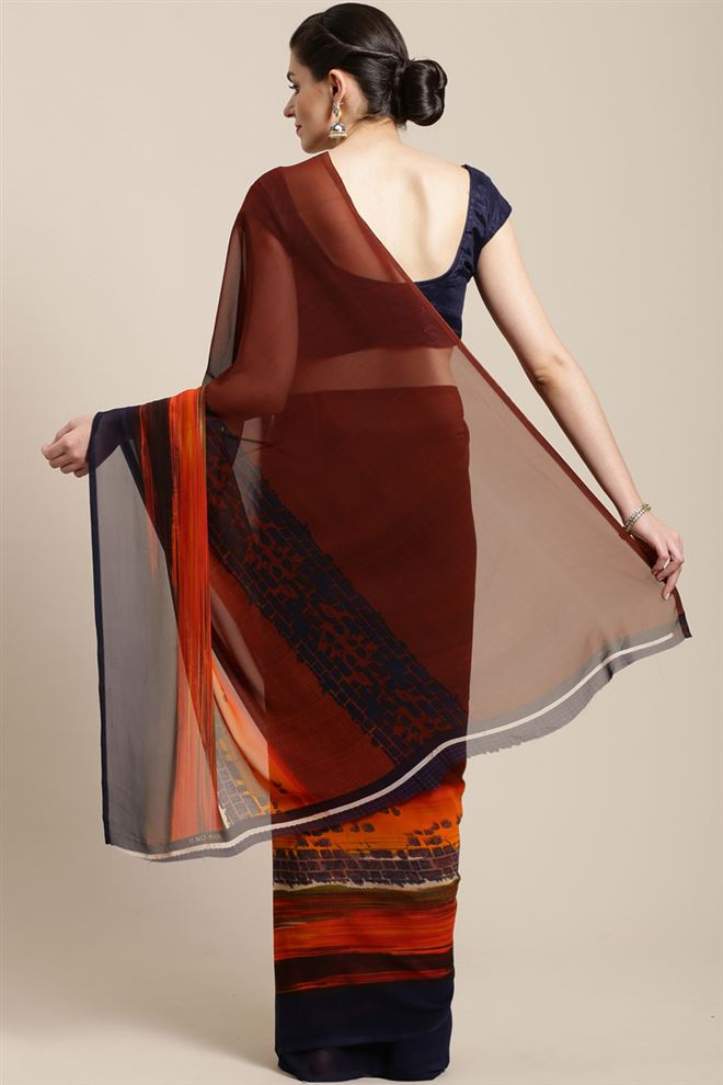 Brown Color Georgette Printed Saree With Printed Blouse Piece
