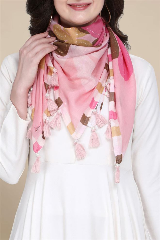 Floral Print Baby Pink Pure Cotton Printed Scarf
