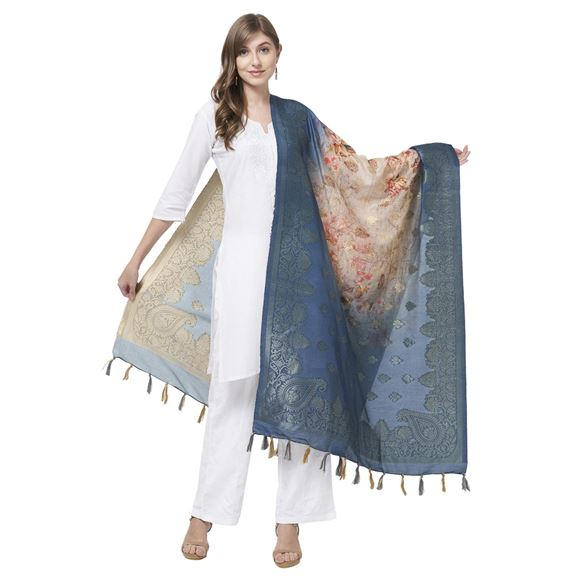 Faserz Blue And Beige Digital Print Dupatta