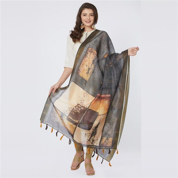Abstract Digital Print Grey Color Chanderi Silk Dupatta