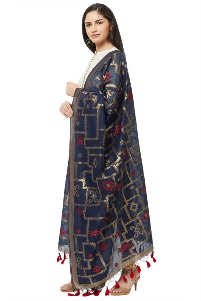 Faserz Navy Blue Color Banarasi Look Woven Matka Silk Jamdani Dupatta