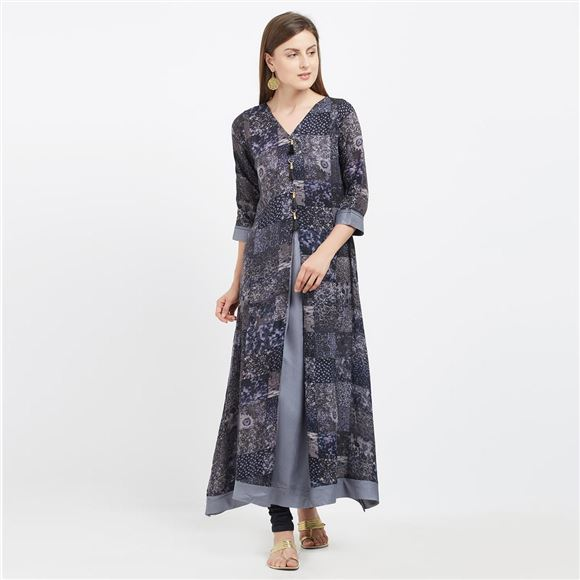 Amazing Grey Color Viscose Rayon Kurti