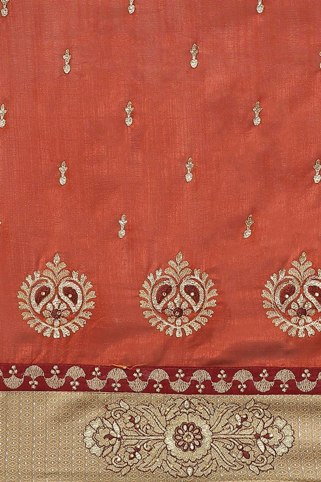 Art Silk Fabric Brown Color Designer Saree With Embroidery Work