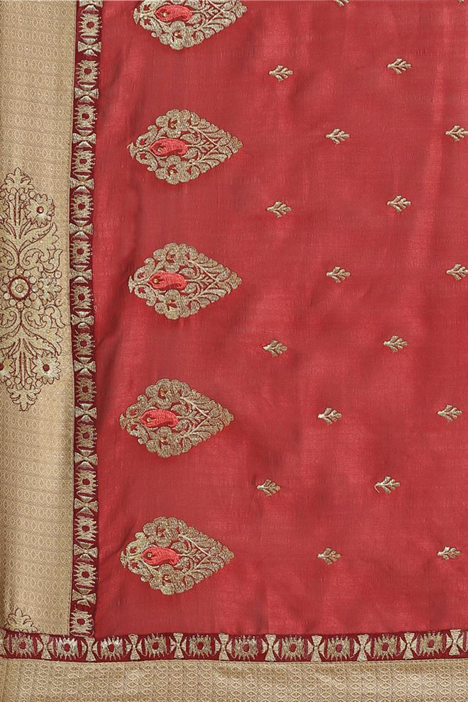 Art Silk Fabric Party Wear Saree In Maroon Color With Embroidery Work