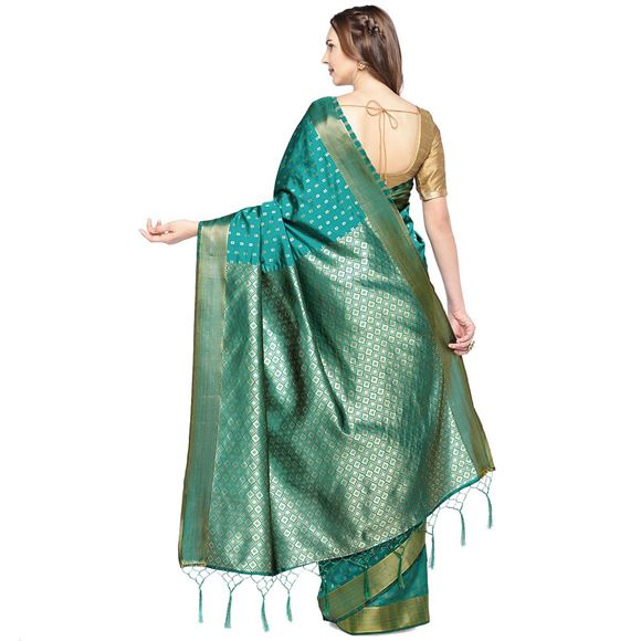 Art Silk Green Color Party Wear Saree With Fancy Weaving Designs