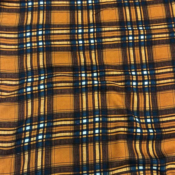Artistic Checks Print on Rayon Fabric in Mustard Color