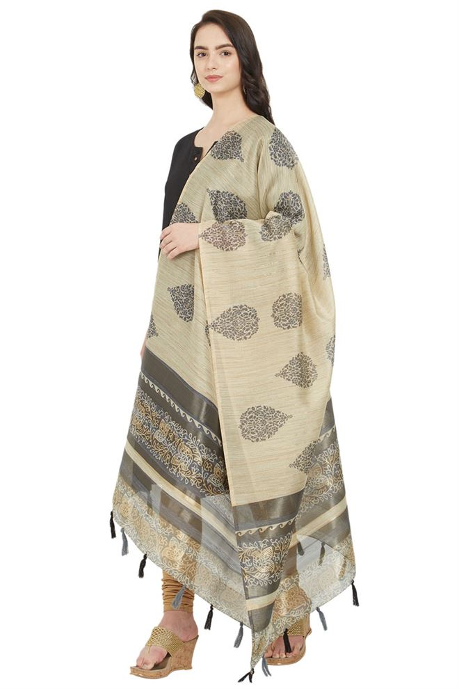 Attractive Beige And Grey Color Cotton Silk Digital Block Printed Dupatta