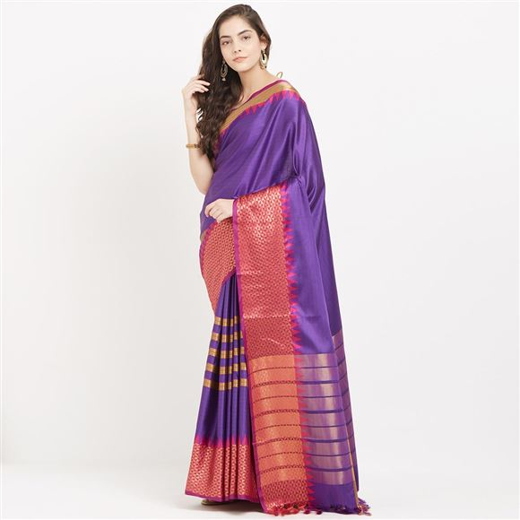 Attractive Blue Color Ethnic Wear Cotton Silk Saree With Weaving Work