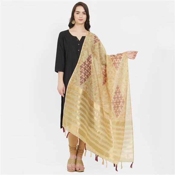 Attractively Beige Color Cotton Silk Ethnic Digital Printed Dupatta