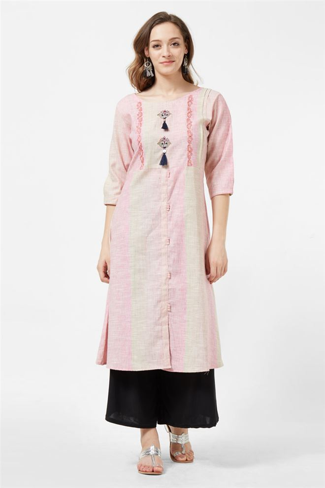 Beautiful Pink Color Long Length Kurti In Cotton Fabric