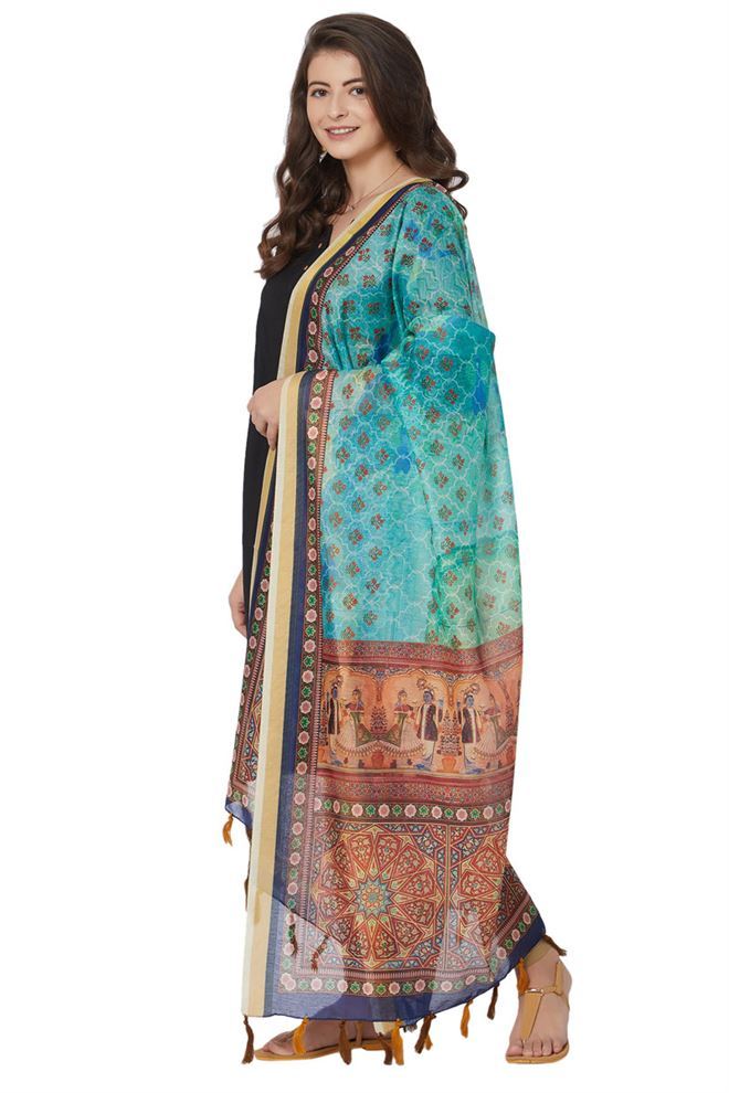 Beautiful Chanderi Silk Turquoise Blue Color Function Wear Ethnic Print Dupatta
