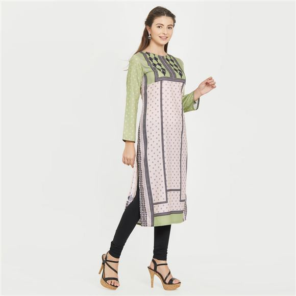 Beige And Green Color Floral Print Designs Puja Wear Prime Rayon Kurti