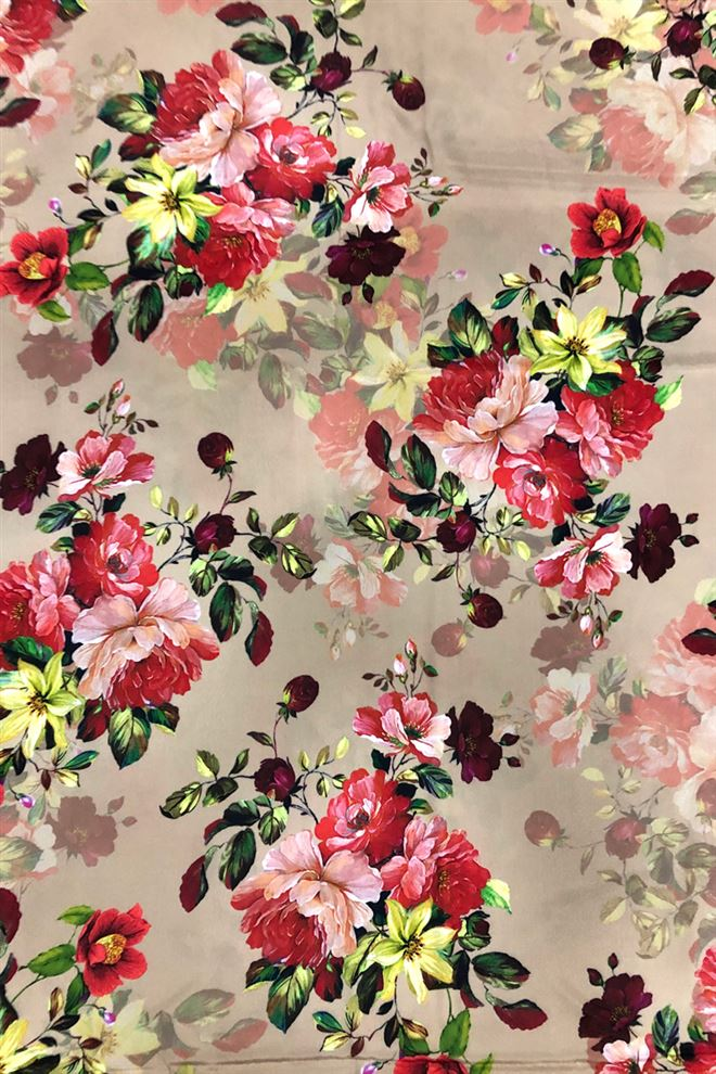 Beige Colored Floral Print Crepe Fabric