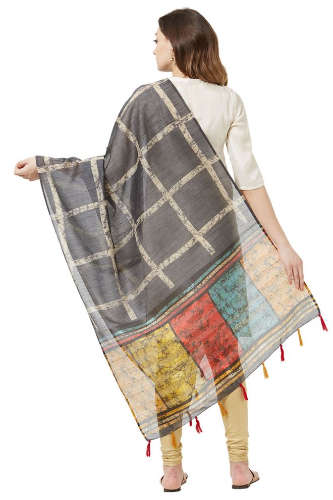Black Color Cotton Silk Party Wear Dupatta With Fancy Printed Work