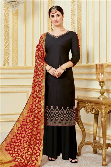 Black Designer Embroidered Palazzo Salwar Kameez In Satin Fabric