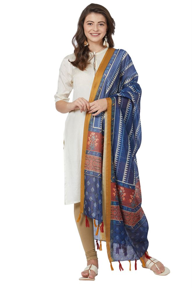 Blue Color Chanderi Silk Ethnic Designer Dupatta With Digital Print