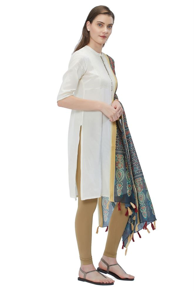Blue Color Designer Dupatta With Digital Prints On Chanderi Silk