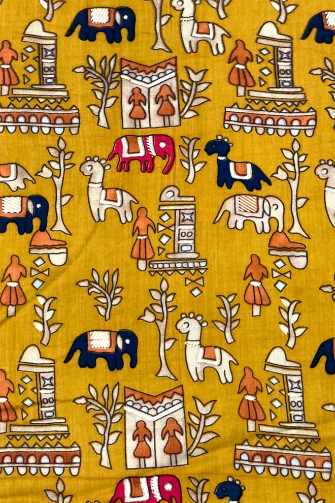 Mustard Color Ethnic Printed Rayon Fabric