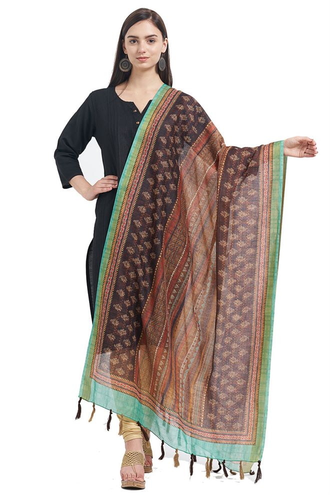 Brown Color Fancy Printed Designs On Chanderi Office Party Wear Dupatta