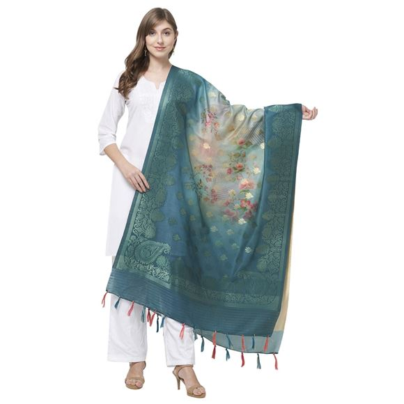 Faserz Stylish Peacock Blue Color Floral Print Dupatta