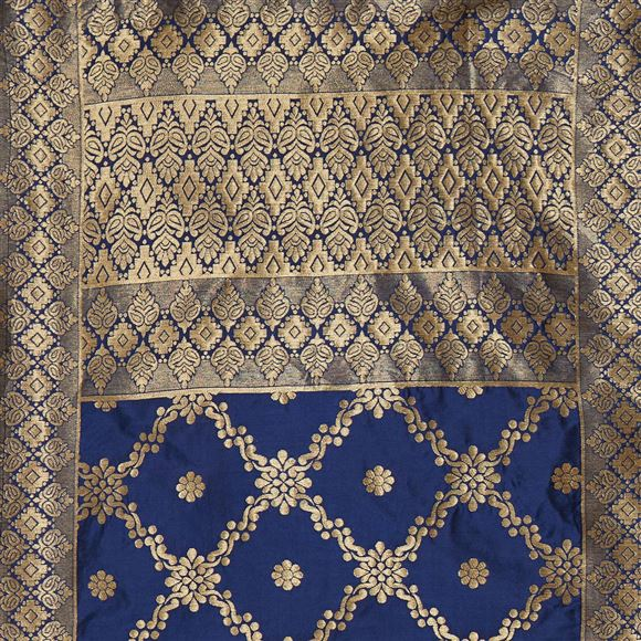 Ceremonious Navy Blue Color Woven Design Banarsi Silk Party Wear Dupatta