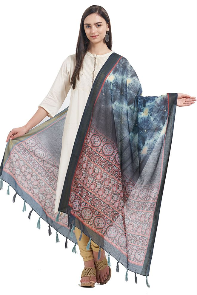 Chanderi Function Wear Dupatta In Black Color With Fancy Print Designs