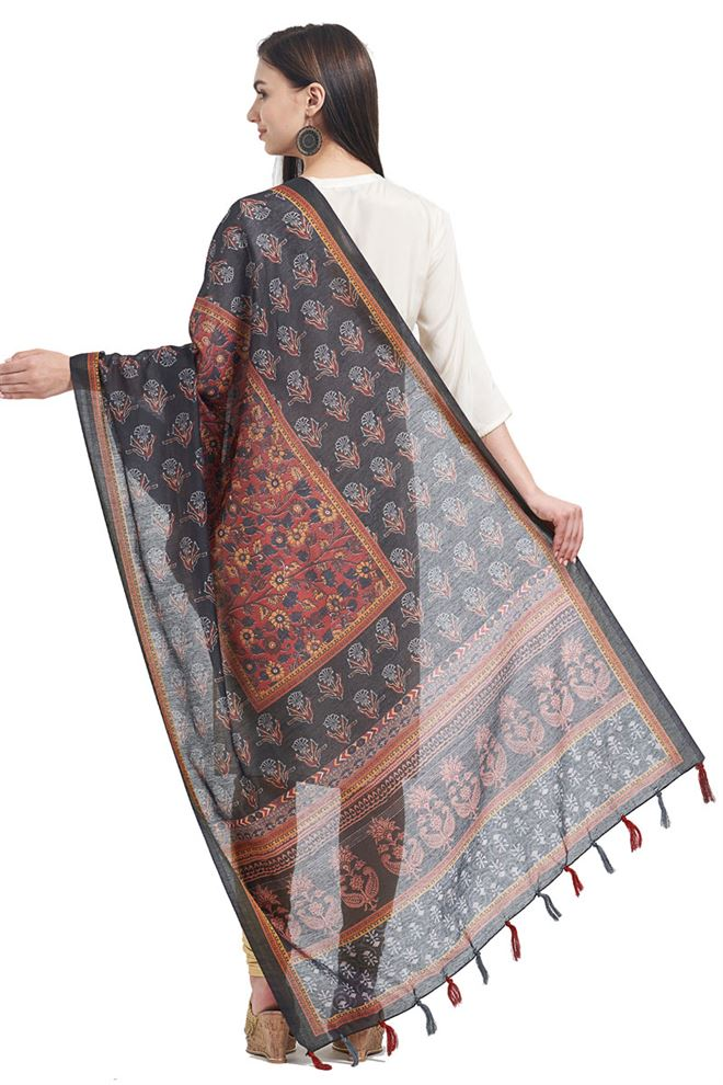 Chanderi Function Wear Dupatta In Black Color With Fancy Printed Designs
