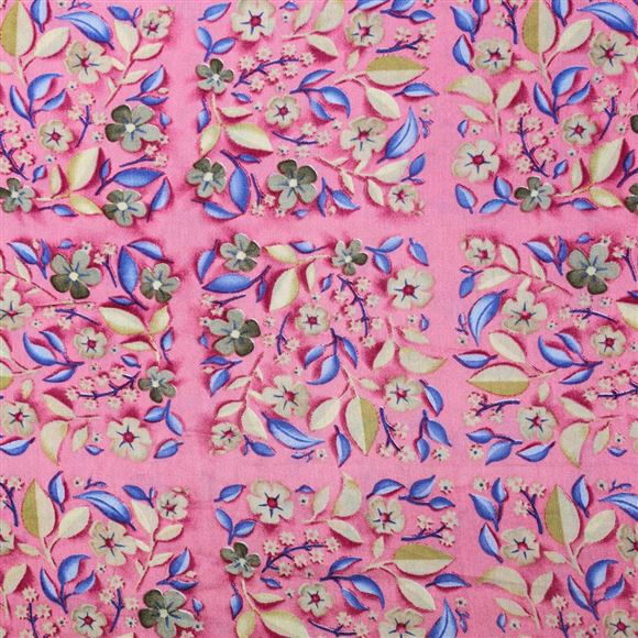 Charming Pink Color Viscose Rayon Printed Fabric - 5104B