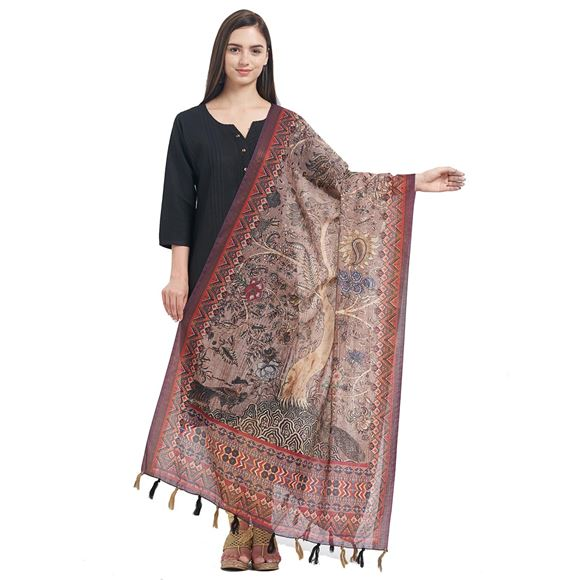Chikoo Color Chanderi Party Wear Dupatta With Fancy Printed Work