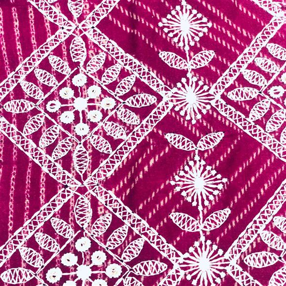 Cotton Satin Pink Color Designer Embroidered Fabric