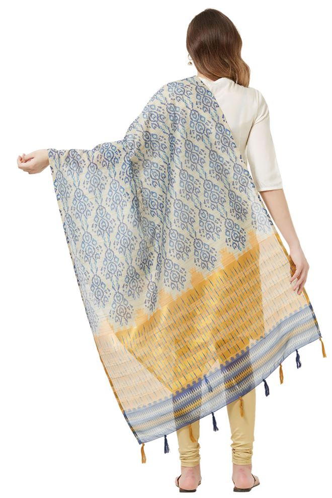 Cotton Silk Beige And Blue Color Designer Dupatta With Fancy Printed Work