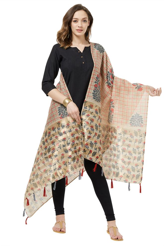 Cotton Silk Beige And Pink Color Fancy Printed Ethnic Wear Dupatta