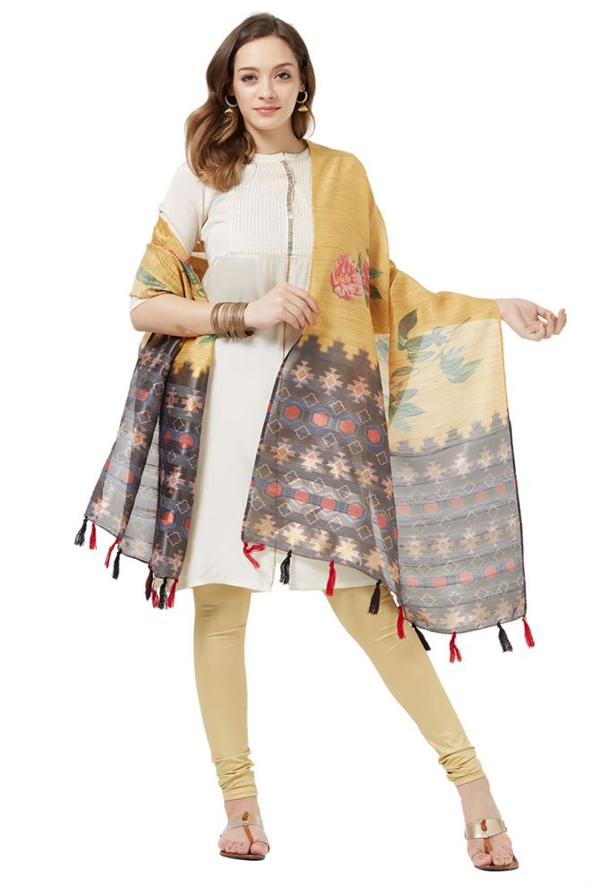 Cotton Silk Function Wear Dupatta In Beige Color With Fancy Printed Designs