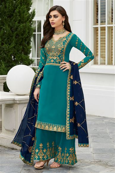 Cyan Party Style Fancy Embroidered Palazzo Suit In Georgette
