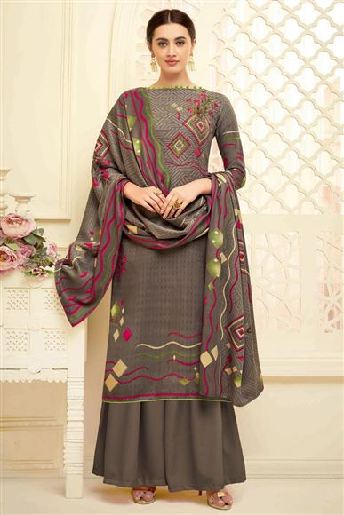 Dark Beige Daily Wear Fancy Printed Palazzo Dress In Pashmina Fabric