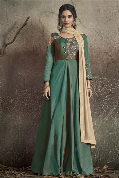 Dark Green Color Designer Taffeta Silk Readymade Party Wear Gown Style Anarkali Suit