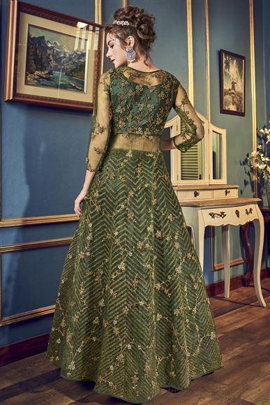 Dark Green Net Embroidered Floor Length Anarkali Suit