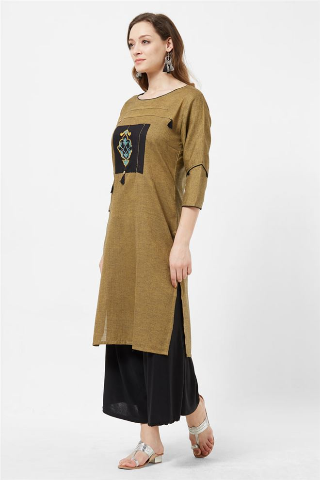 Dazzling Chikoo Color Designer Cotton Long Length Kurti