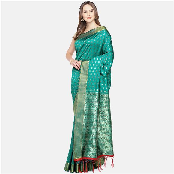 Designer Art Silk Function Wear Weaving Work Saree In Green Color