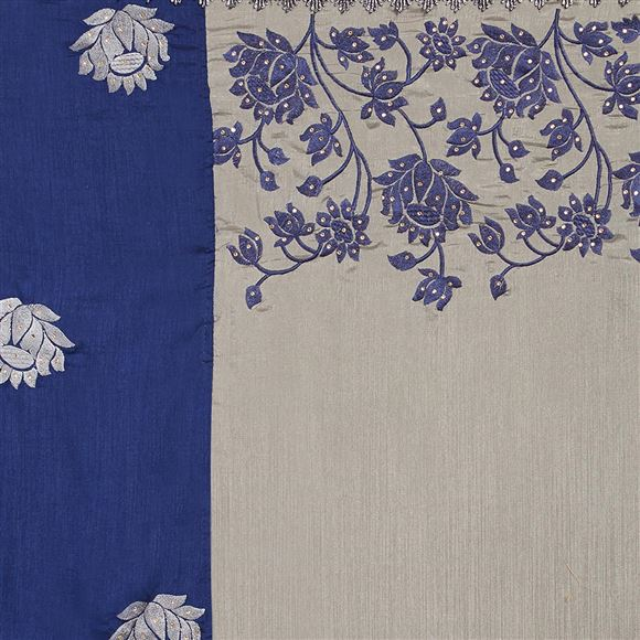 Designer Blue Color Art Silk Occasion Wear Embroidered Saree
