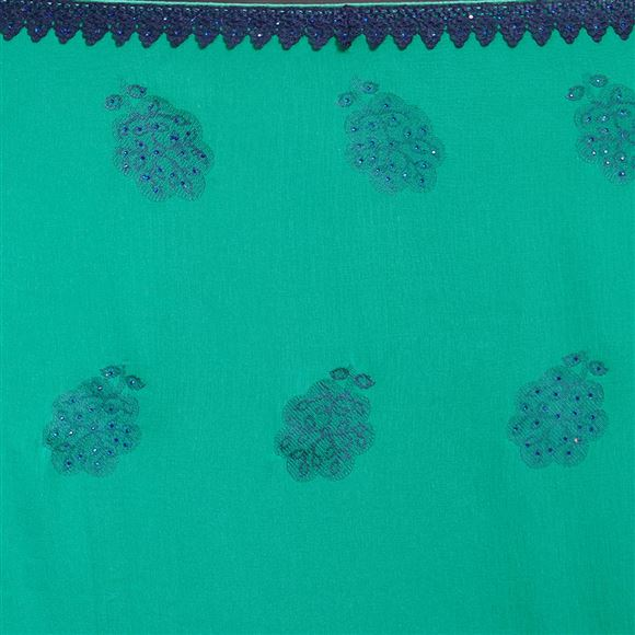 Designer Cyan Color Art Silk Occasion Wear Embroidered Saree
