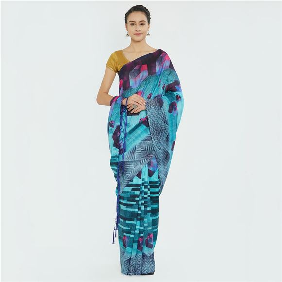 Designer Cyan Color Function Wear Bhagalpuri Silk Printed Saree
