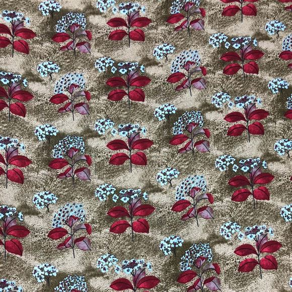 Designer Flowers and Leaves Print on Rayon Fabric
