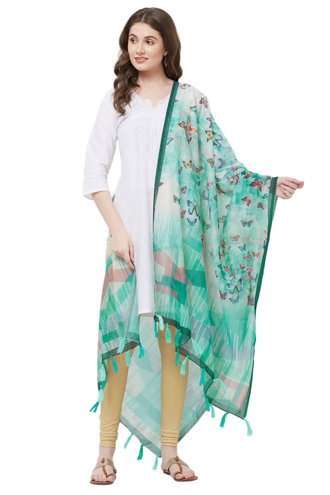 Digital Butterfly Print Chanderi Silk Dupatta