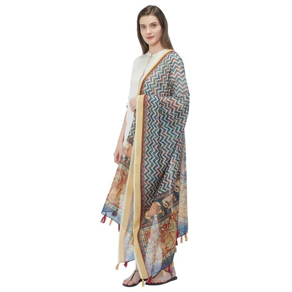 Digitally Printed Chanderi Silk Blue Color Designer Dupatta